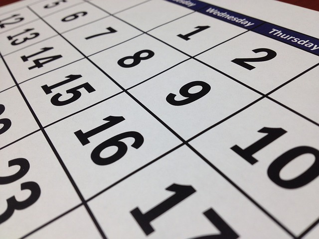 numbered calendar